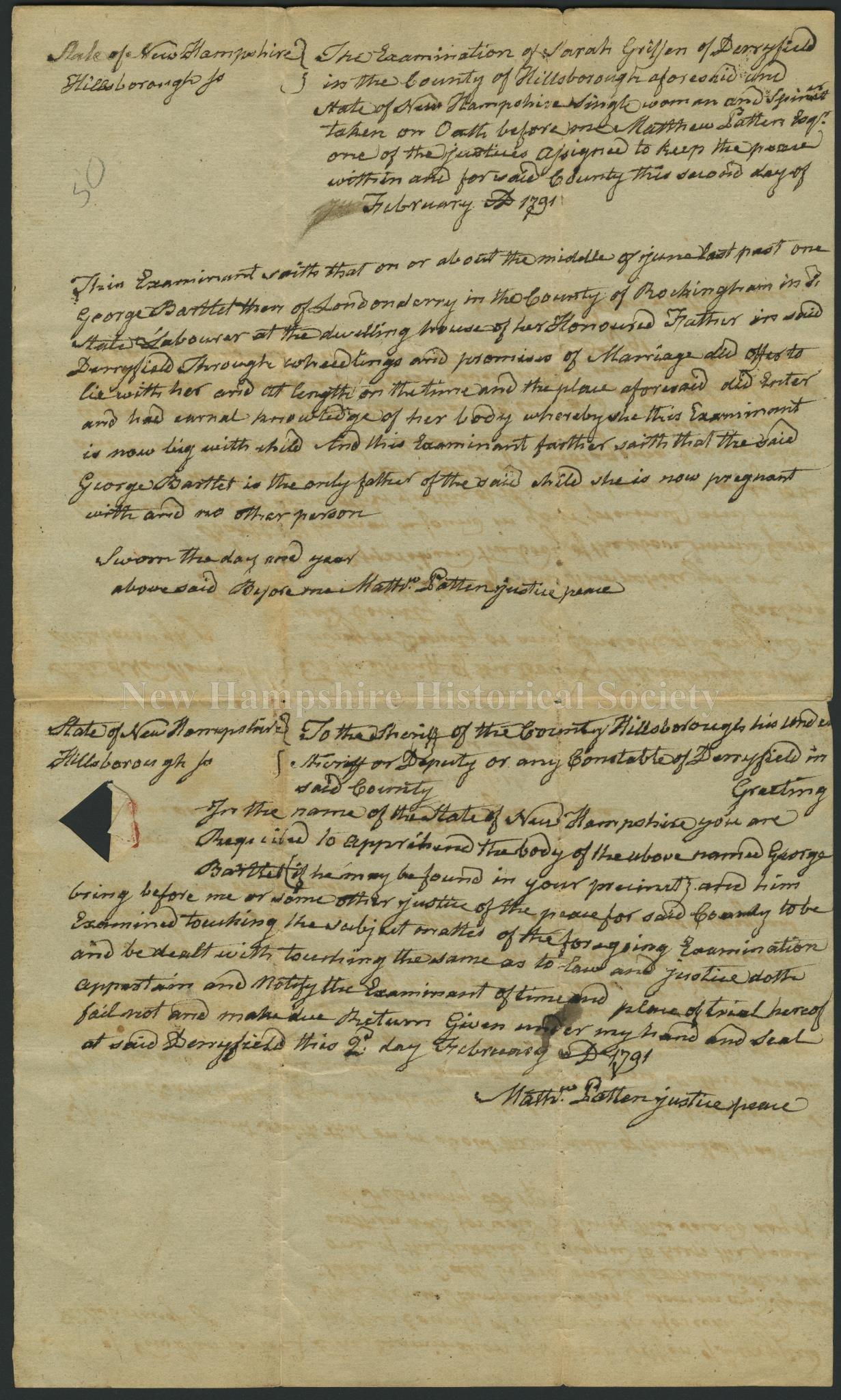 New Hampshire Historical Society - Examination of Sarah