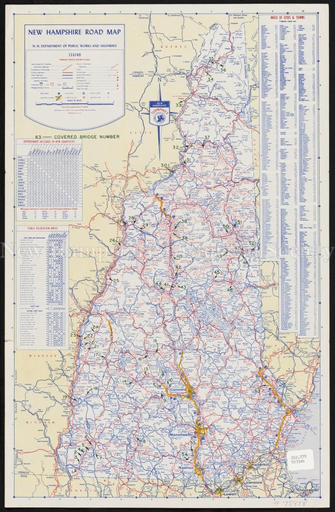New Hampshire Historical Society - New Hampshire road map featuring ...