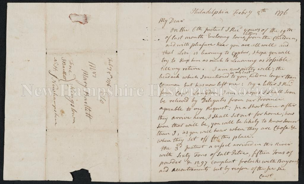 New Hampshire Historical Society - Letter from Josiah Bartlett to