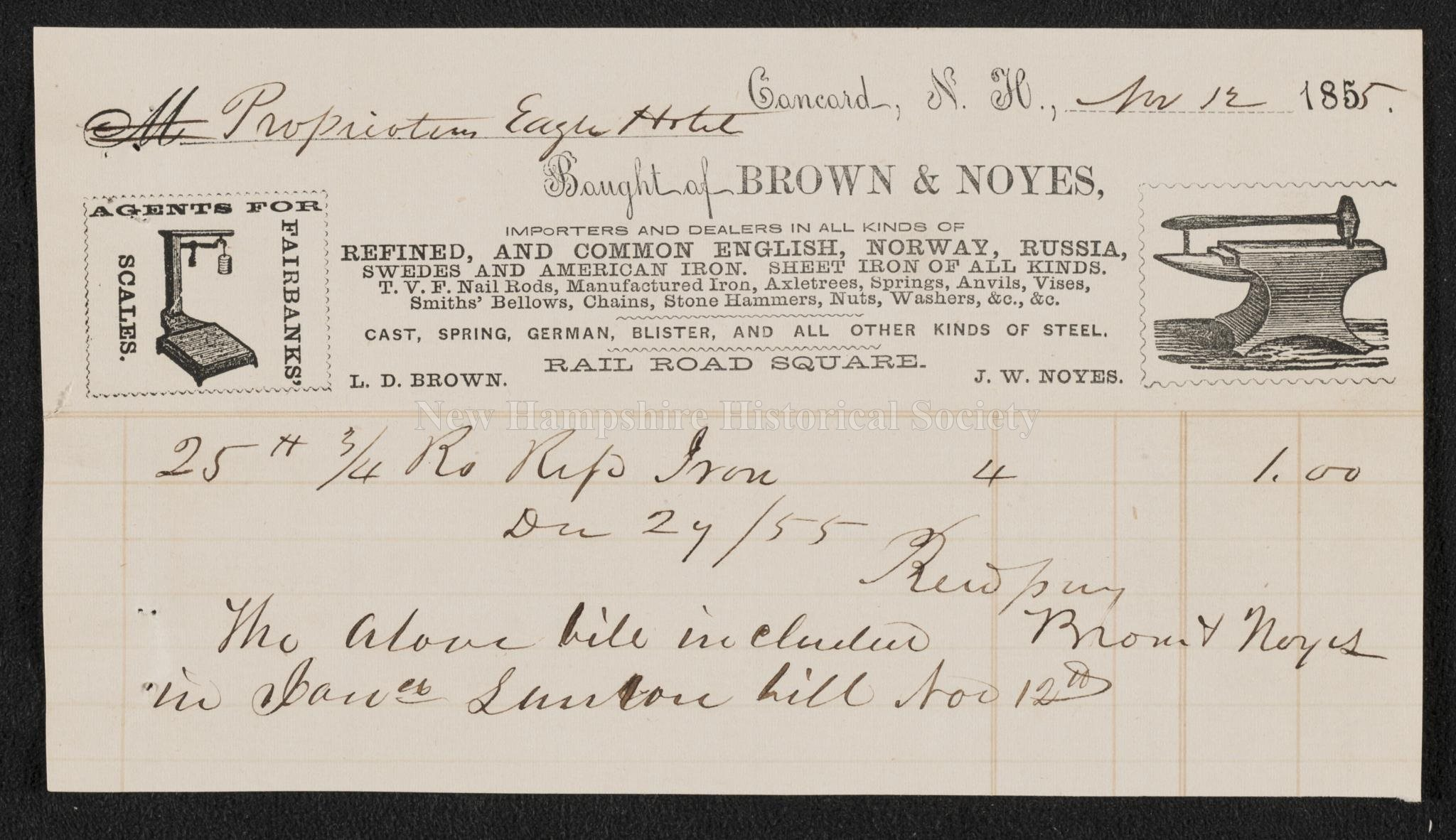 New Hampshire Historical Society - Receipt from Brown