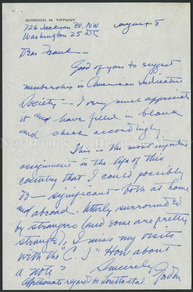53c172ef3 New Hampshire Historical Society - Letter from Gordon M. Tiffany to ...